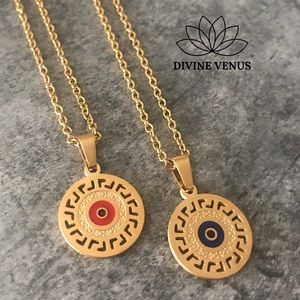 Evil Eye Gold Plated Stainless Steel Necklace
